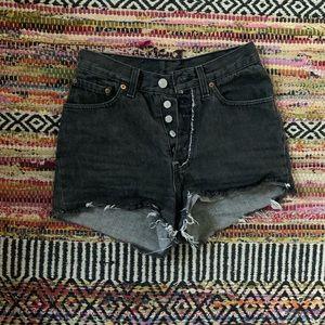 Levi's gray high waisted denim shorts